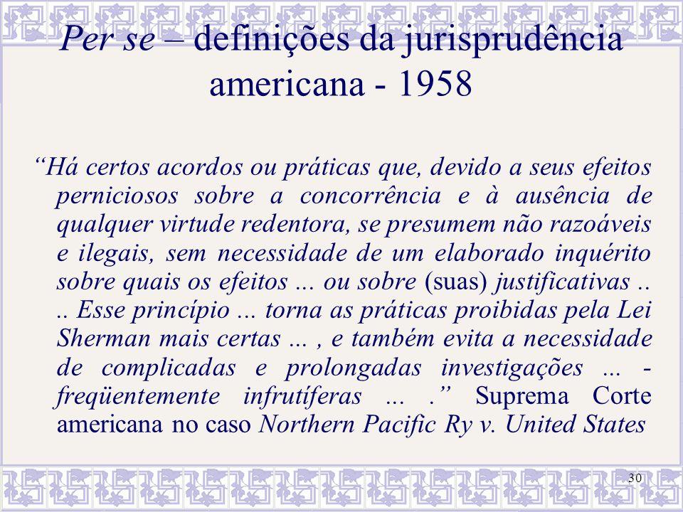 31 Per se – definições da jurisprudência americana - 1984 A regra per se requer que o Tribunal proceda a uma ampla generalização a respeito da utilidade social de certas práticas comerciais...