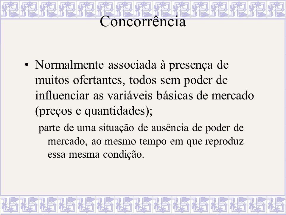 Concorrência...é um processo que gera assimetrias de poder ao mesmo tempo em que as intensifica.
