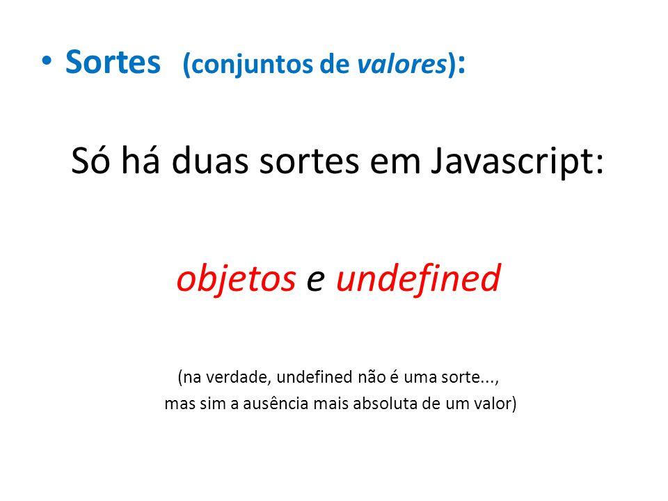 Sortes (conjuntos de valores) : Só há duas sortes em Javascript: objetos e undefined (na verdade, undefined não é uma sorte..., mas sim a ausência mai