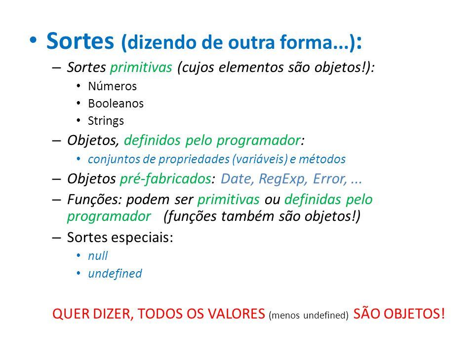 Sortes (dizendo de outra forma...) : – Sortes primitivas (cujos elementos são objetos!): Números Booleanos Strings – Objetos, definidos pelo programad