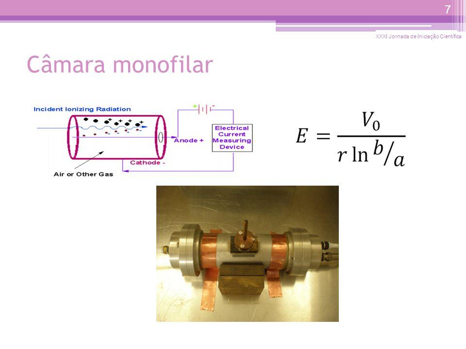 Câmara proporcional Avalanche de elétrons: Multiplicação dos pares elétron-íon Medidas comparativas para garantir que o ganho seja uniforme sobre toda a área do detector.