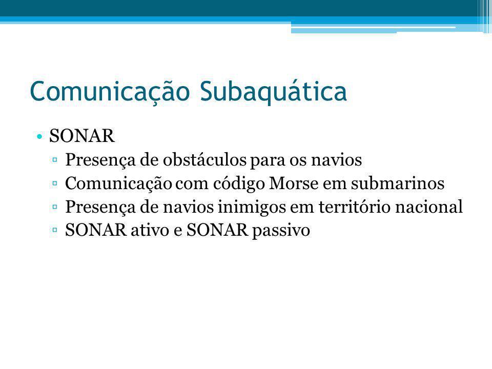 Comunicação Subaquática SONAR Presença de obstáculos para os navios Comunicação com código Morse em submarinos Presença de navios inimigos em territór