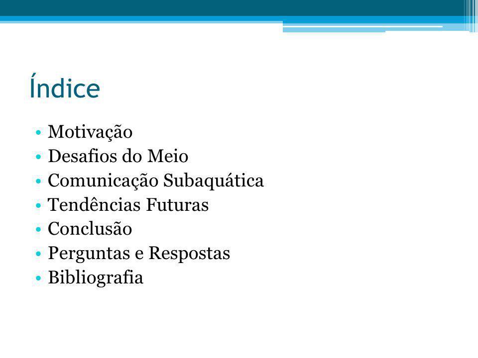 Índice Motivação Desafios do Meio Comunicação Subaquática Tendências Futuras Conclusão Perguntas e Respostas Bibliografia