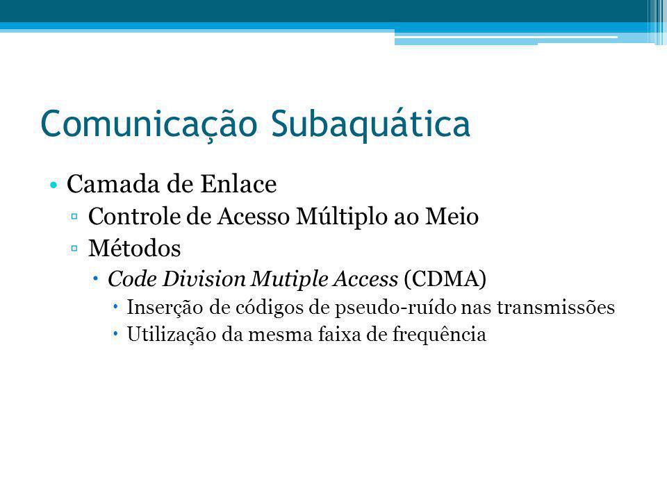 Comunicação Subaquática Camada de Enlace Controle de Acesso Múltiplo ao Meio Métodos Code Division Mutiple Access (CDMA) Inserção de códigos de pseudo
