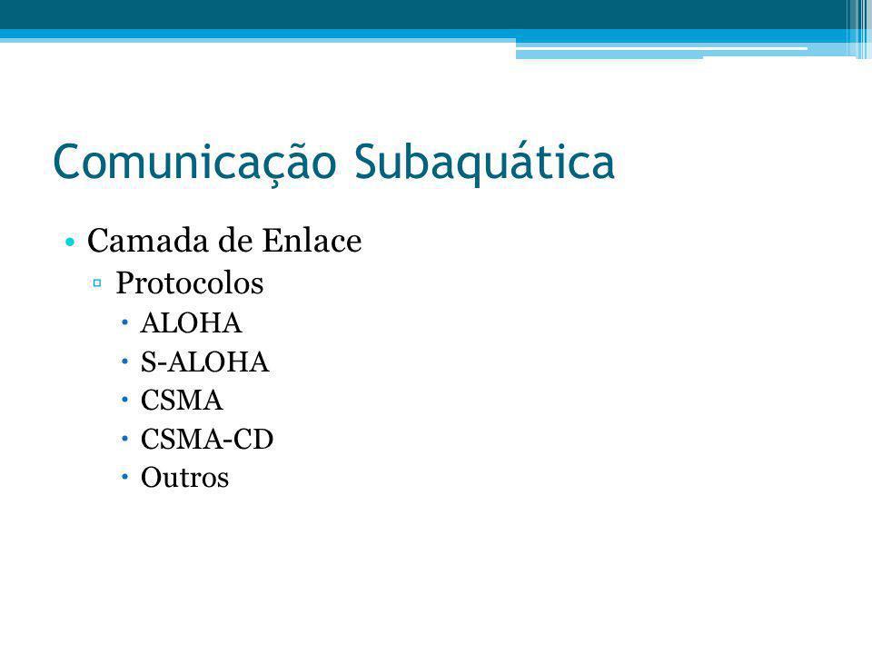 Comunicação Subaquática Camada de Enlace Protocolos ALOHA S-ALOHA CSMA CSMA-CD Outros