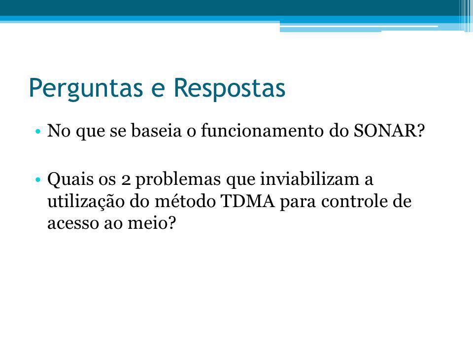 Perguntas e Respostas No que se baseia o funcionamento do SONAR? Quais os 2 problemas que inviabilizam a utilização do método TDMA para controle de ac