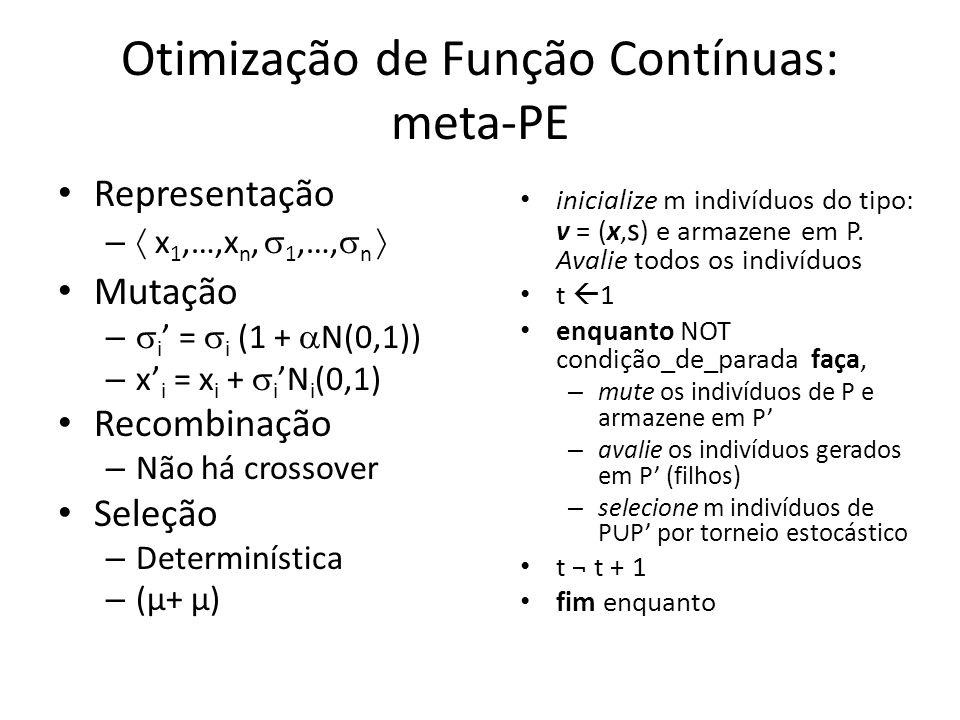 Otimização de Função Contínuas: meta-PE Representação – x 1,…,x n, 1,…, n Mutação – i = i (1 + N(0,1)) – x i = x i + iN i (0,1) Recombinação – Não há crossover Seleção – Determinística – (µ+ µ)