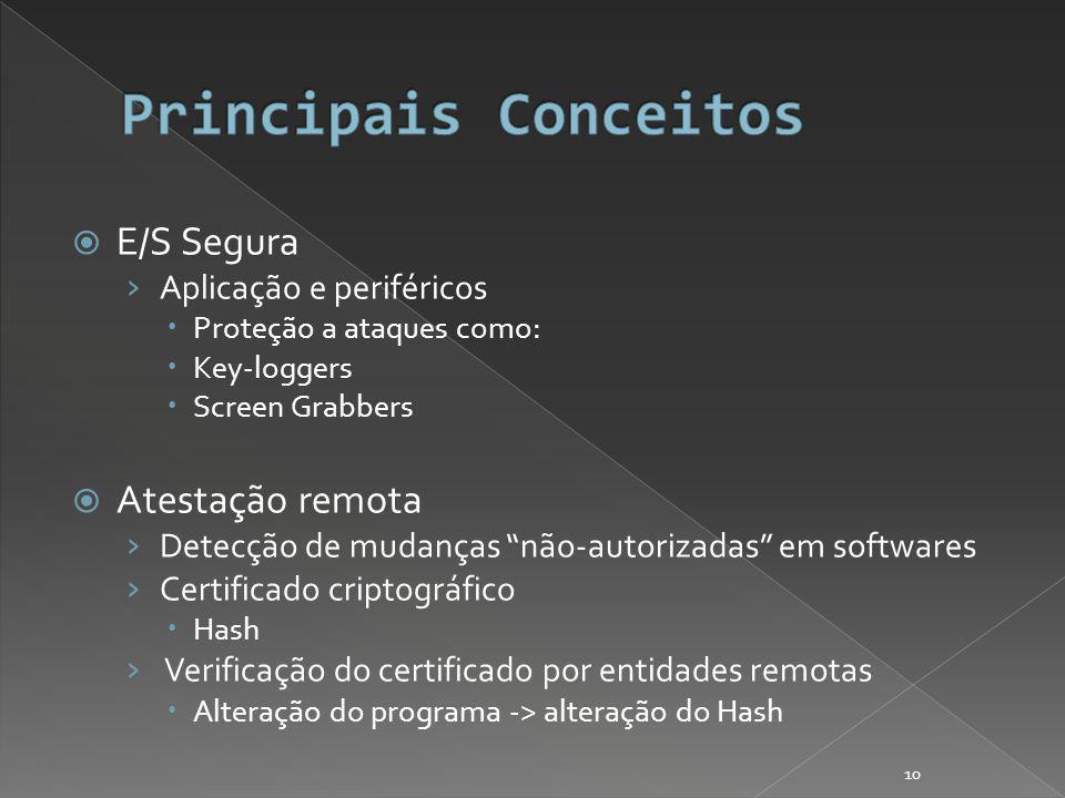 E/S Segura Aplicação e periféricos Proteção a ataques como: Key-loggers Screen Grabbers Atestação remota Detecção de mudanças não-autorizadas em softwares Certificado criptográfico Hash Verificação do certificado por entidades remotas Alteração do programa -> alteração do Hash 10