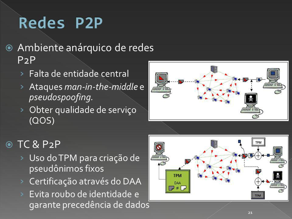 Ambiente anárquico de redes P2P Falta de entidade central Ataques man-in-the-middle e pseudospoofing.