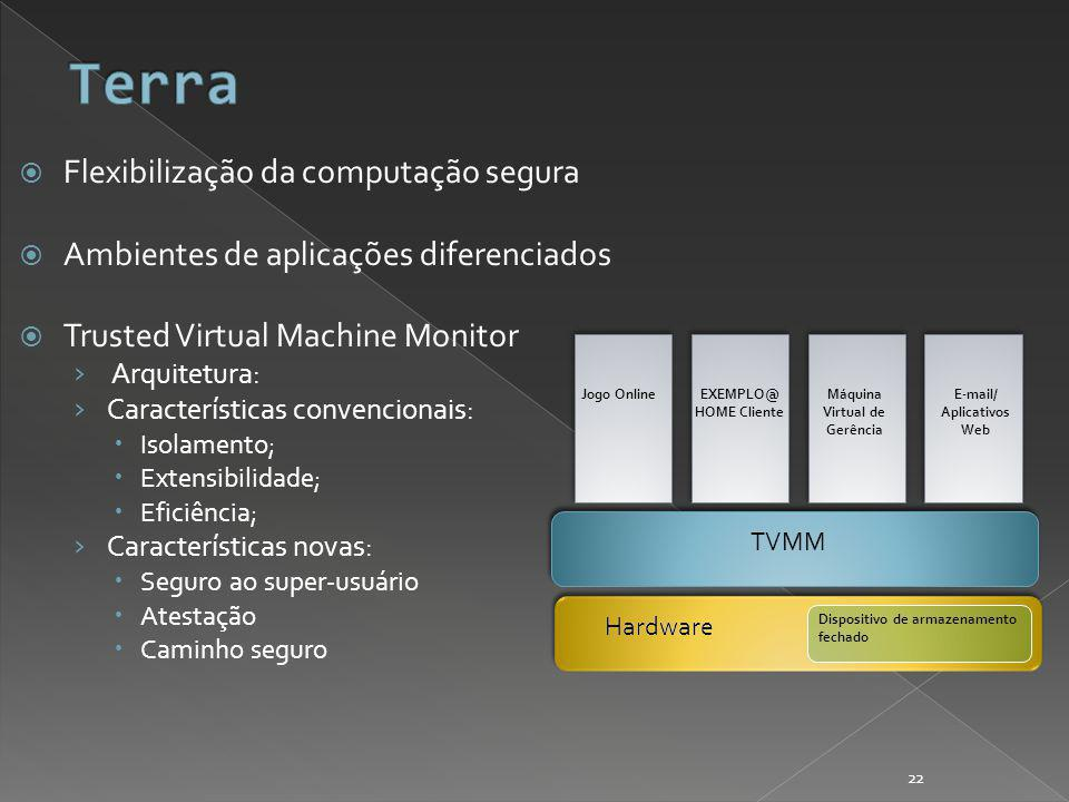 Flexibilização da computação segura Ambientes de aplicações diferenciados Trusted Virtual Machine Monitor Arquitetura: Características convencionais: Isolamento; Extensibilidade; Eficiência; Características novas: Seguro ao super-usuário Atestação Caminho seguro Hardware Dispositivo de armazenamento fechado TVMM Máquina Virtual de Gerência E-mail/ Aplicativos Web EXEMPLO@ HOME Cliente Jogo Online 22