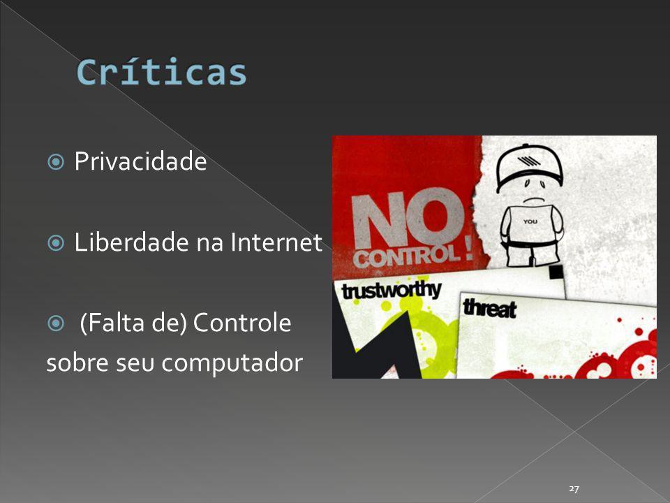 Privacidade Liberdade na Internet (Falta de) Controle sobre seu computador 27