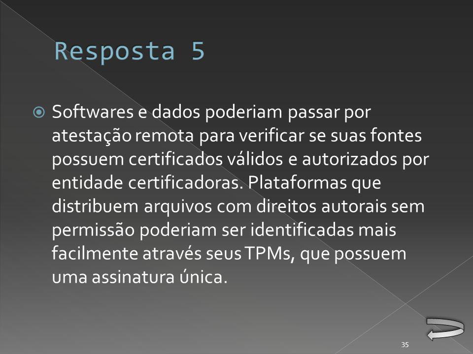 Softwares e dados poderiam passar por atestação remota para verificar se suas fontes possuem certificados válidos e autorizados por entidade certificadoras.