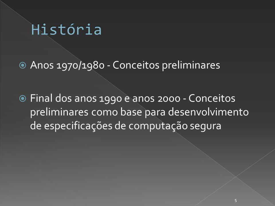 Anos 1970/1980 - Conceitos preliminares Final dos anos 1990 e anos 2000 - Conceitos preliminares como base para desenvolvimento de especificações de computação segura 5