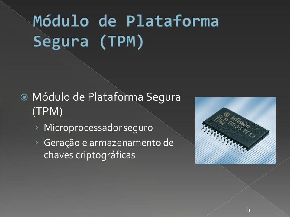 Módulo de Plataforma Segura (TPM) Microprocessador seguro Geração e armazenamento de chaves criptográficas 8