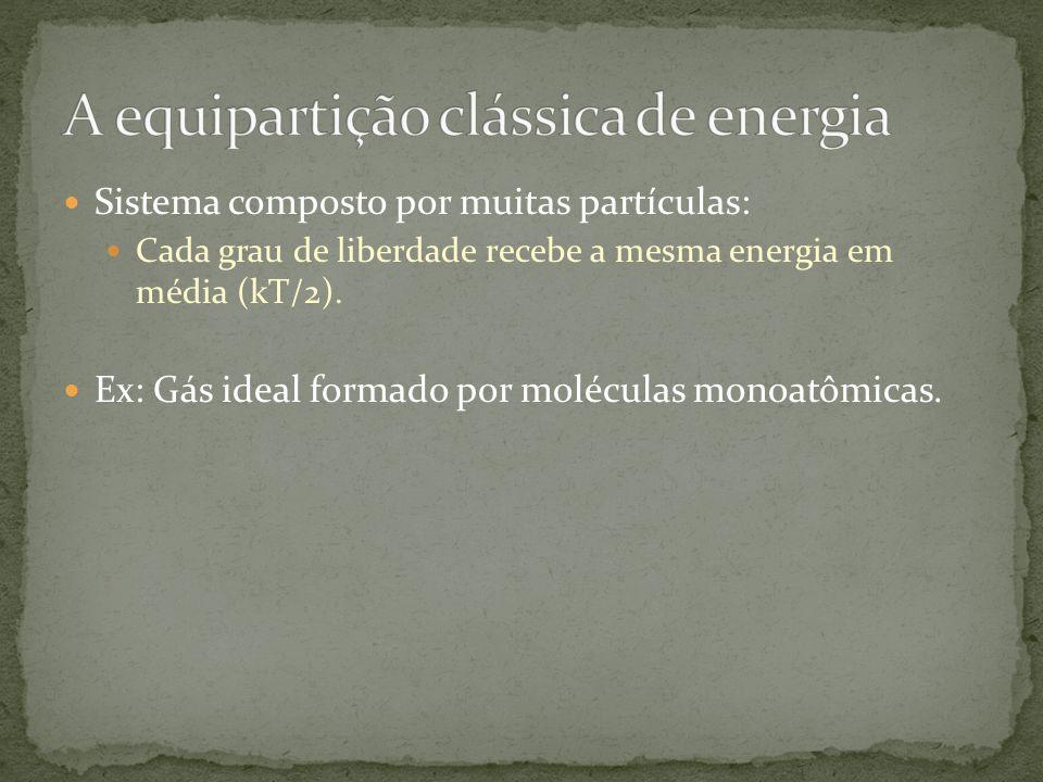 Sistema composto por muitas partículas: Cada grau de liberdade recebe a mesma energia em média (kT/2). Ex: Gás ideal formado por moléculas monoatômica