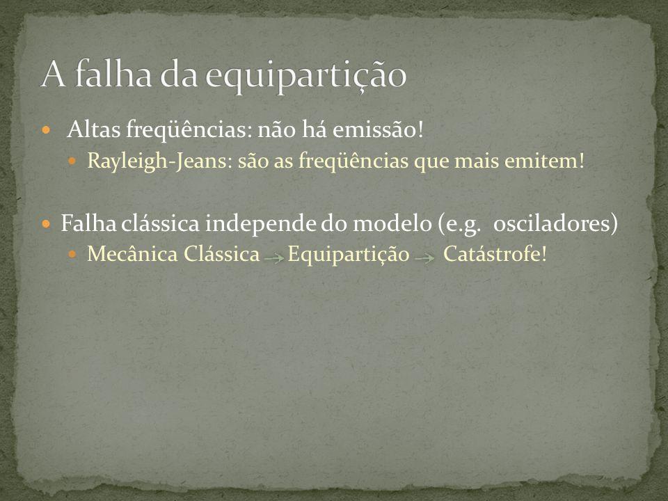 Altas freqüências: não há emissão! Rayleigh-Jeans: são as freqüências que mais emitem! Falha clássica independe do modelo (e.g. osciladores) Mecânica