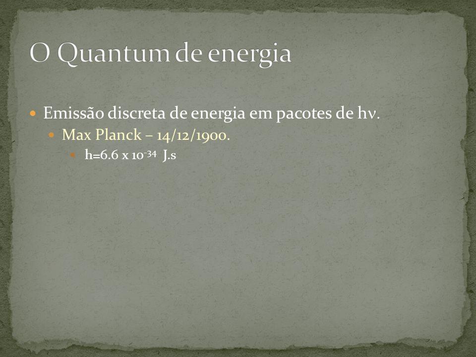 Emissão discreta de energia em pacotes de h Max Planck – 14/12/1900. h=6.6 x 10 -34 J.s