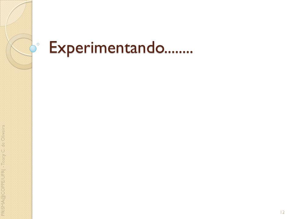 Experimentando........ 12 PRISMA@COPPE/UFRJ - Toacy C. de Oliveira