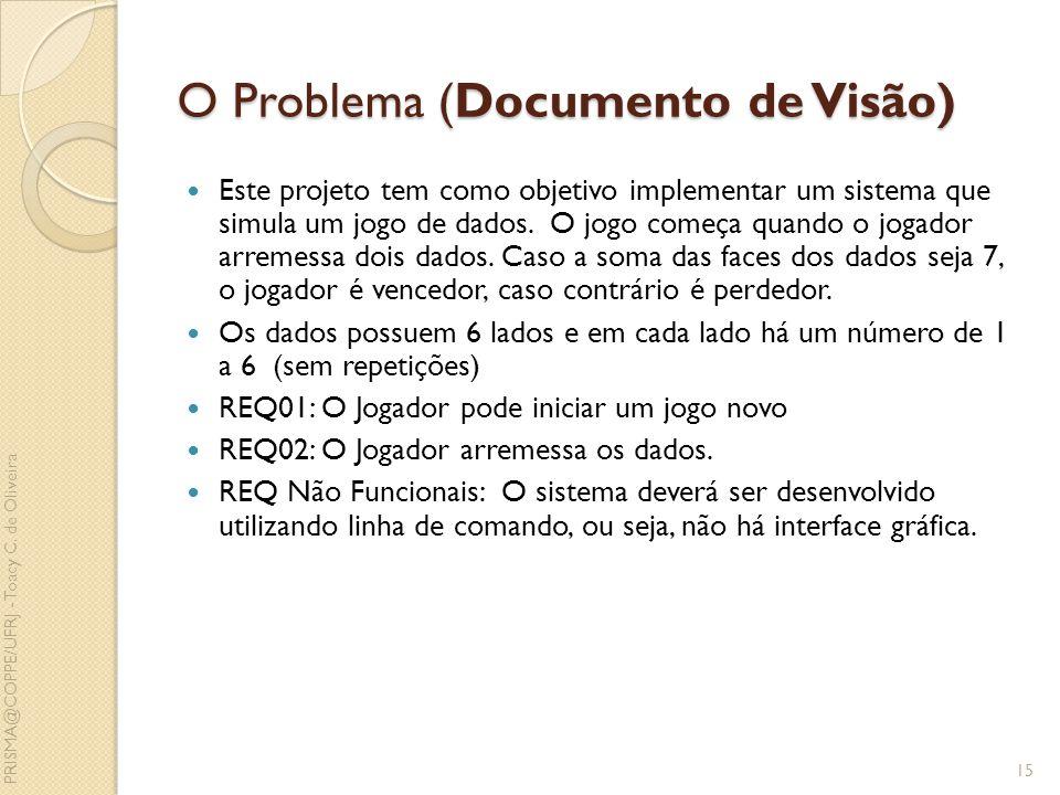 O Problema (Documento de Visão) Este projeto tem como objetivo implementar um sistema que simula um jogo de dados. O jogo começa quando o jogador arre
