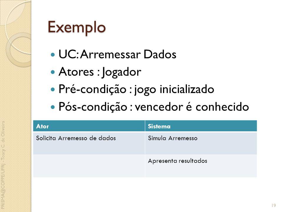Exemplo UC: Arremessar Dados Atores : Jogador Pré-condição : jogo inicializado Pós-condição : vencedor é conhecido 19 AtorSistema Solicita Arremesso d