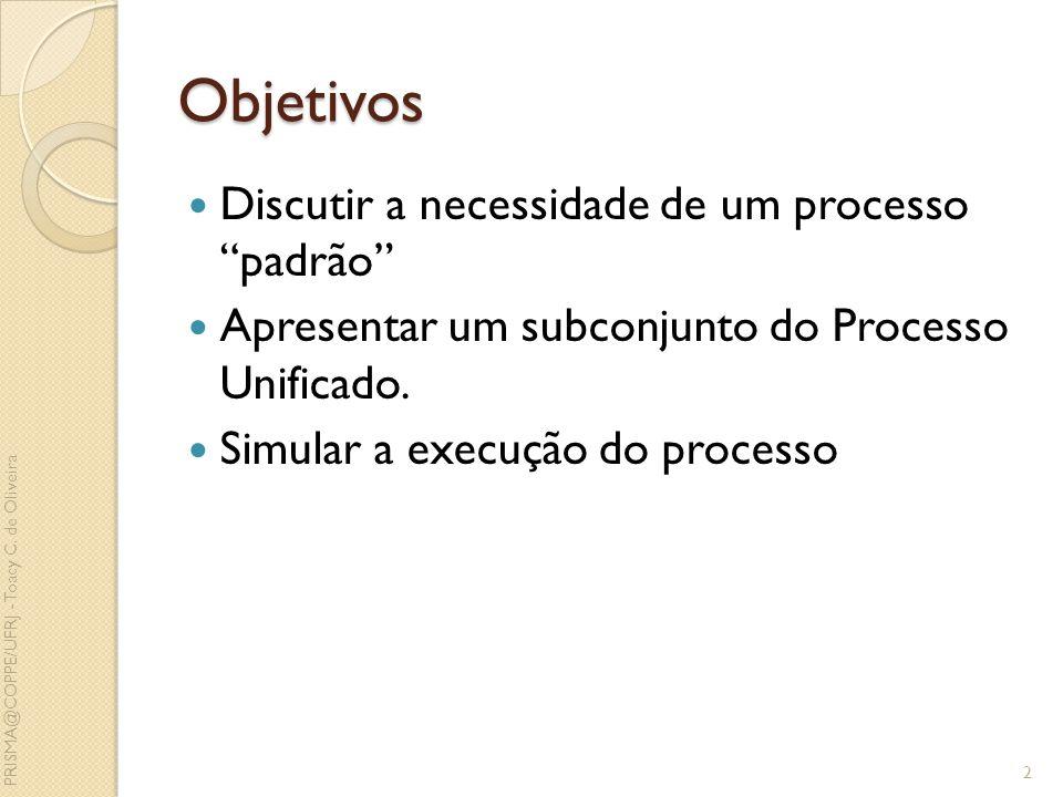 Objetivos Discutir a necessidade de um processo padrão Apresentar um subconjunto do Processo Unificado. Simular a execução do processo 2 PRISMA@COPPE/