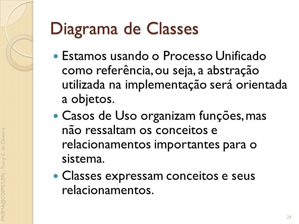 Diagrama de Classes Estamos usando o Processo Unificado como referência, ou seja, a abstração utilizada na implementação será orientada a objetos. Cas