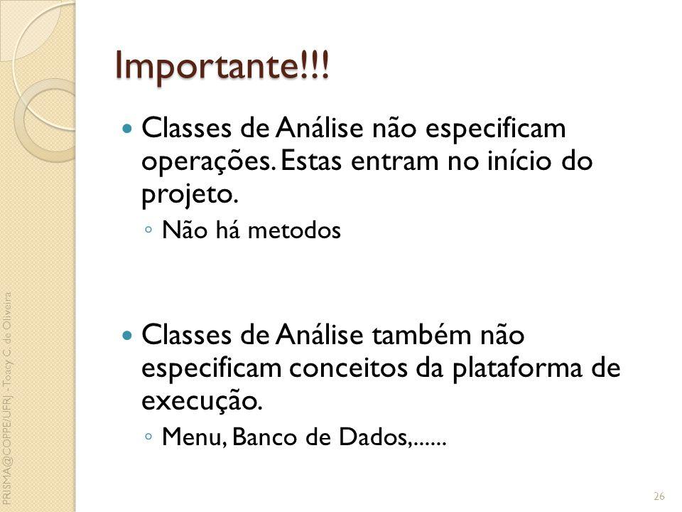 Importante!!! Classes de Análise não especificam operações. Estas entram no início do projeto. Não há metodos Classes de Análise também não especifica