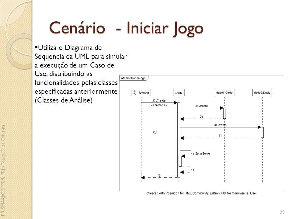 Cenário - Iniciar Jogo 29 Utiliza o Diagrama de Sequencia da UML para simular a execução de um Caso de Uso, distribuindo as funcionalidades pelas clas