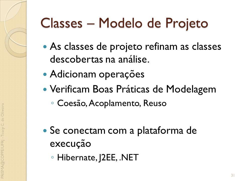 Classes – Modelo de Projeto As classes de projeto refinam as classes descobertas na análise. Adicionam operações Verificam Boas Práticas de Modelagem