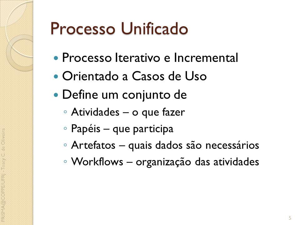 Processo Unificado Processo Iterativo e Incremental Orientado a Casos de Uso Define um conjunto de Atividades – o que fazer Papéis – que participa Art