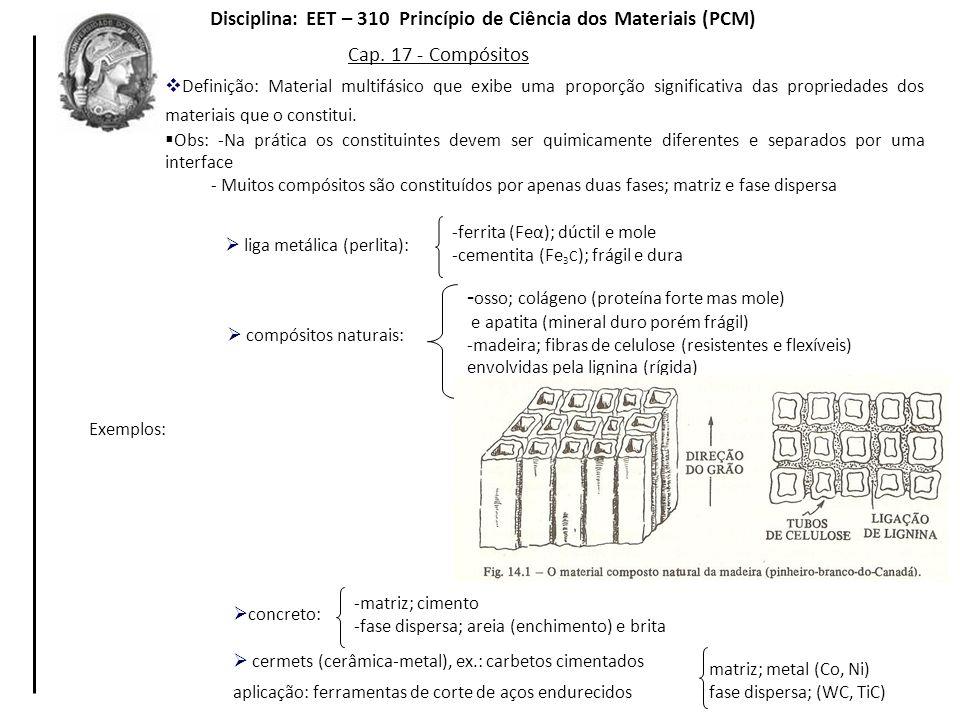 Cap. 17 - Compósitos Definição: Material multifásico que exibe uma proporção significativa das propriedades dos materiais que o constitui. Obs: -Na pr