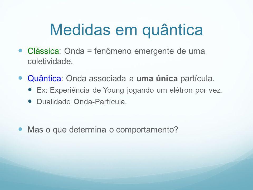 Medidas em quântica Clássica: Onda = fenômeno emergente de uma coletividade.