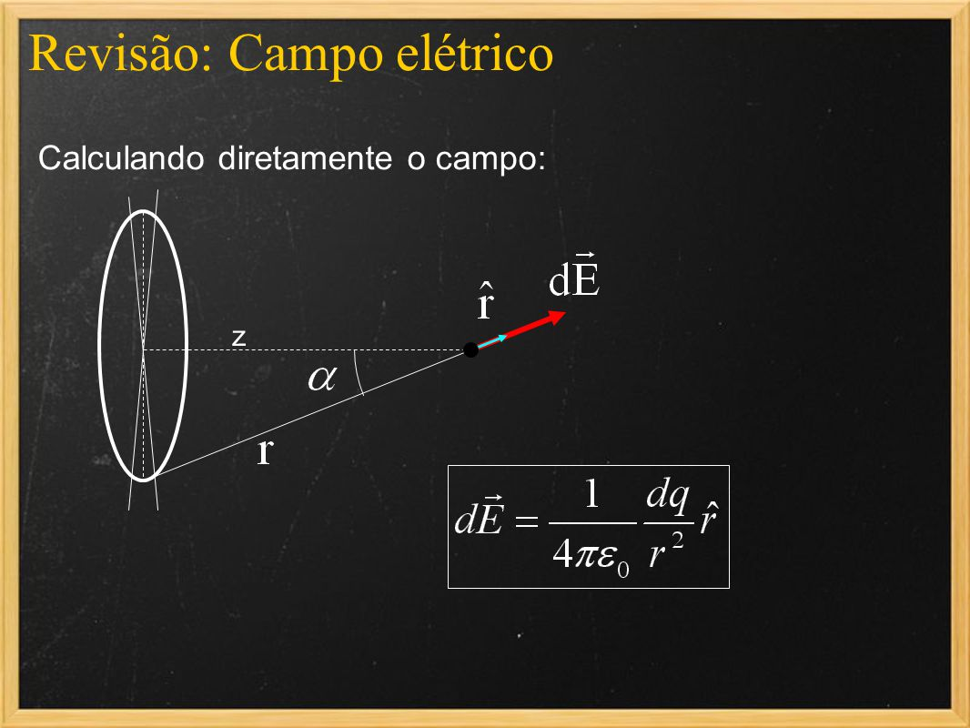 Resumo Um dipolo elétrico inserido em uma região com um campo elétrico uniforme não sofre força (se o dipolo estiver inicialmente em repouso, ele continuará em repouso) Mas ele sofrerá um torque (rotação sobre o eixo do dipolo)