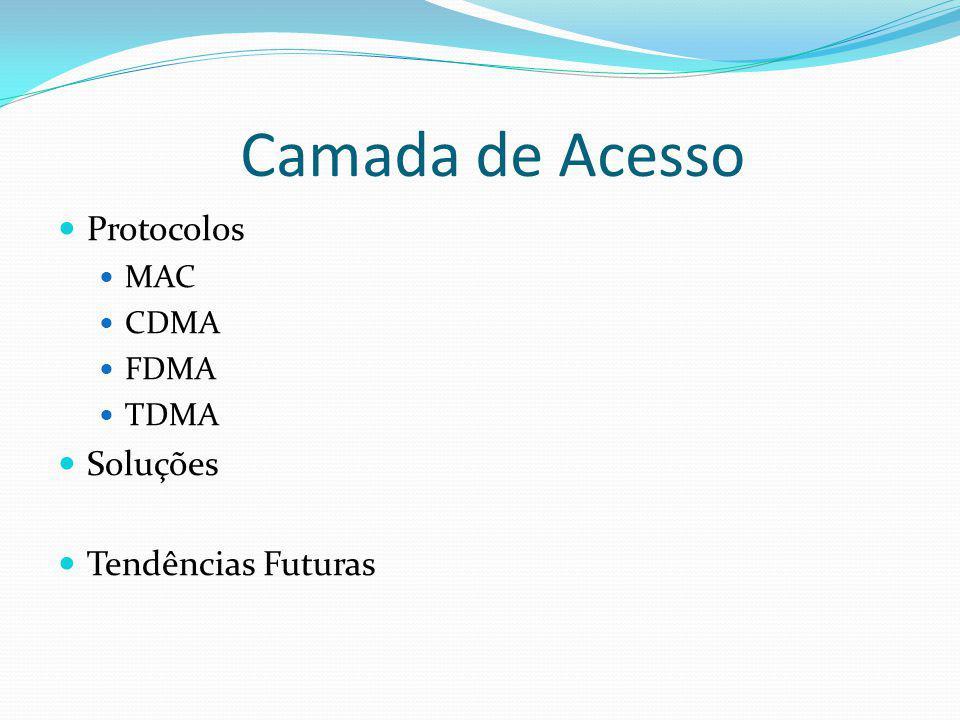 Camada de Acesso Protocolos MAC CDMA FDMA TDMA Soluções Tendências Futuras