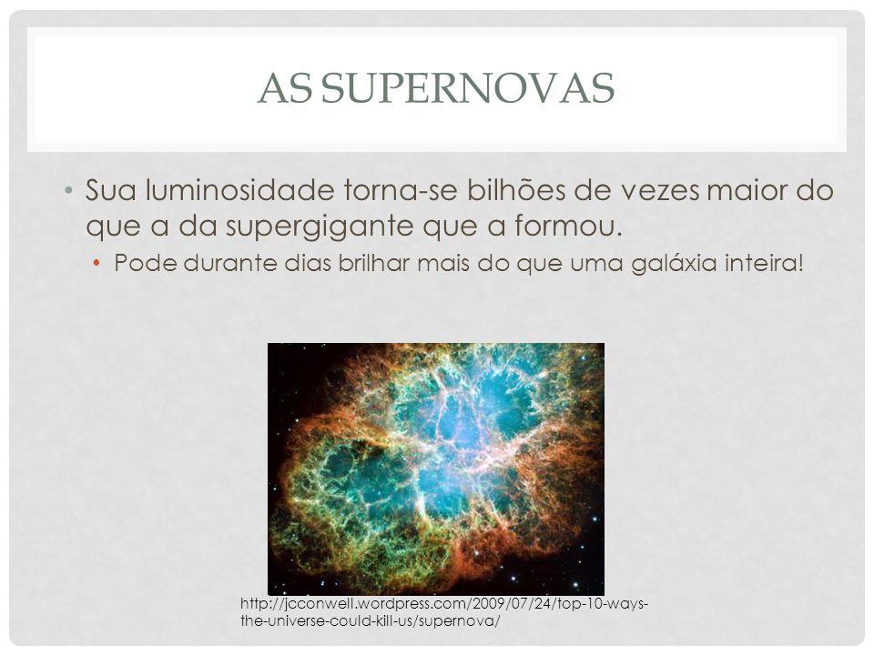 AS SUPERNOVAS Sua luminosidade torna-se bilhões de vezes maior do que a da supergigante que a formou. Pode durante dias brilhar mais do que uma galáxi