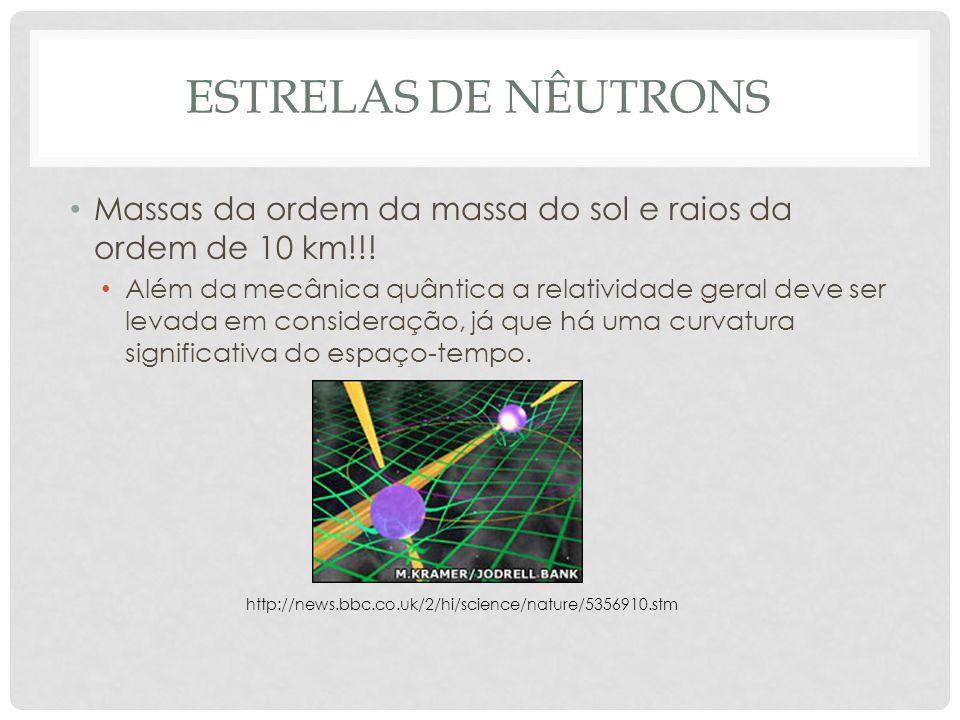 ESTRELAS DE NÊUTRONS Massas da ordem da massa do sol e raios da ordem de 10 km!!! Além da mecânica quântica a relatividade geral deve ser levada em co