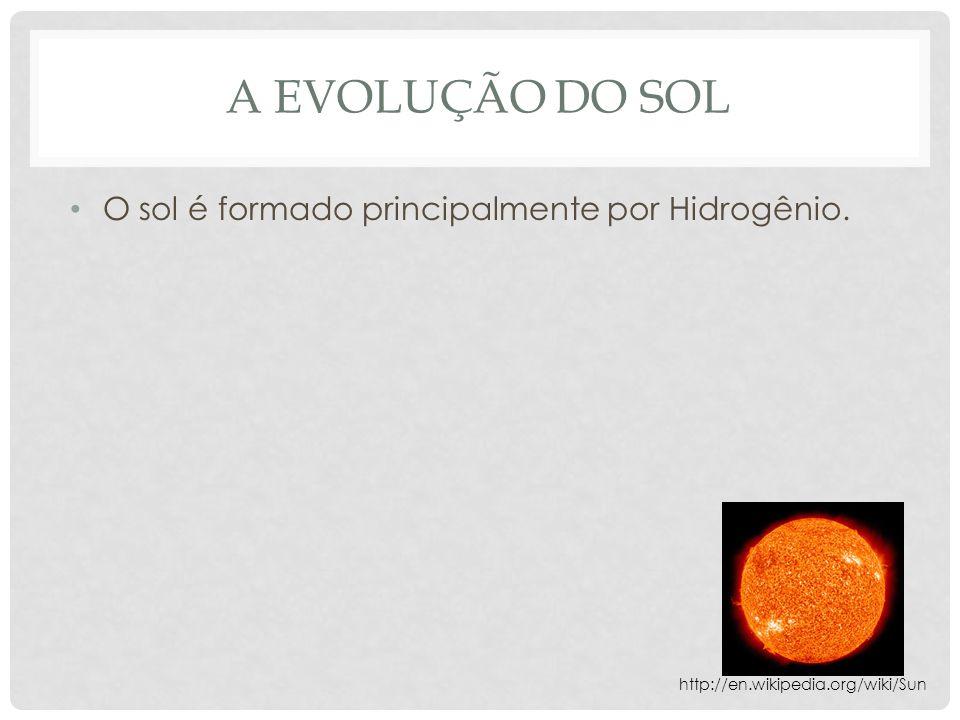 A EVOLUÇÃO DO SOL O sol é formado principalmente por Hidrogênio. http://en.wikipedia.org/wiki/Sun
