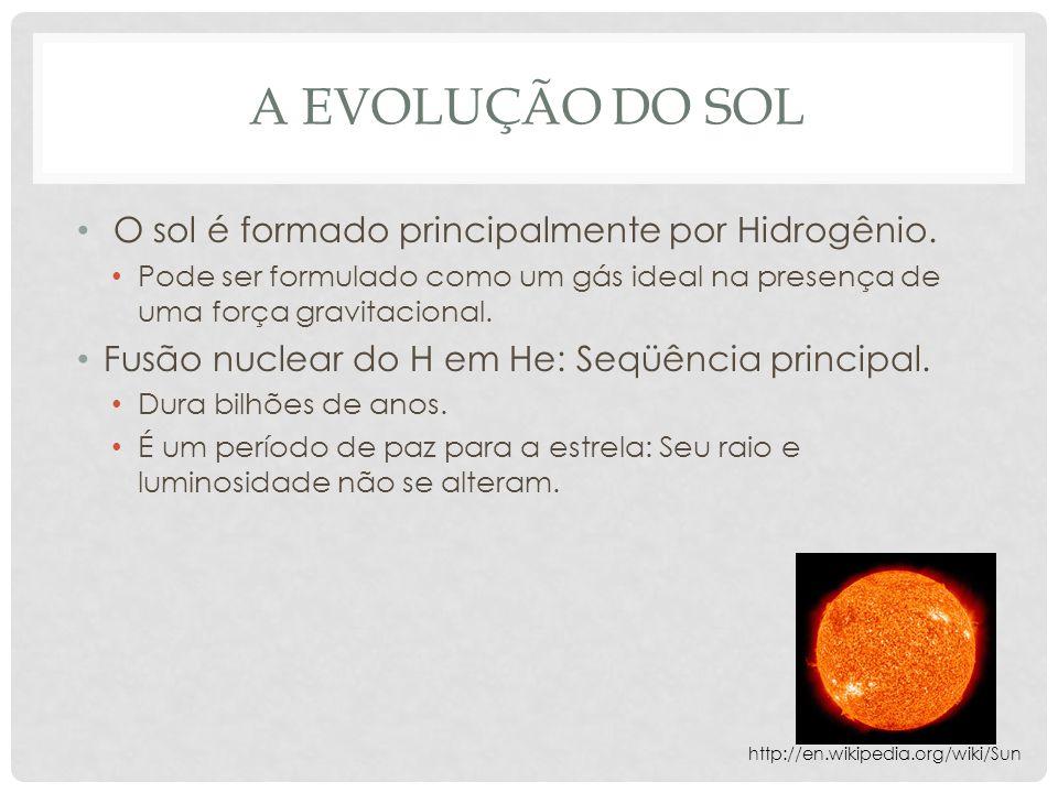 A EVOLUÇÃO DO SOL O sol é formado principalmente por Hidrogênio. Pode ser formulado como um gás ideal na presença de uma força gravitacional. Fusão nu
