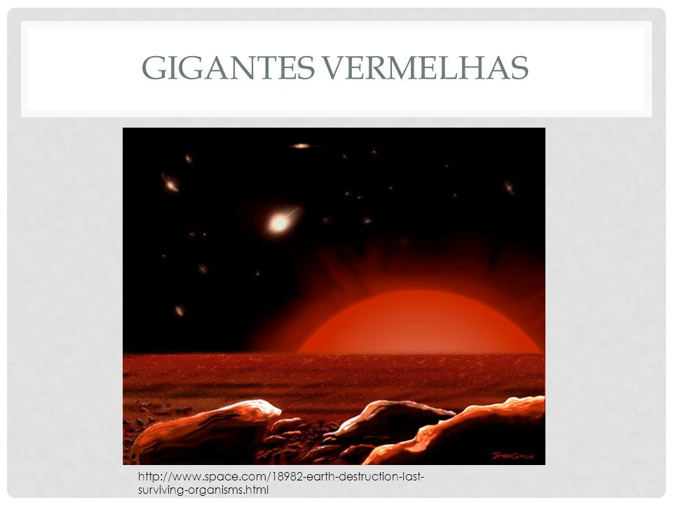 GIGANTES VERMELHAS http://www.space.com/18982-earth-destruction-last- surviving-organisms.html