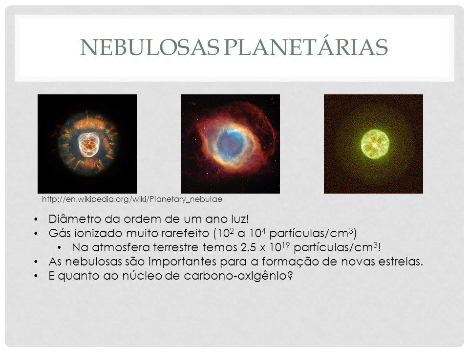 NEBULOSAS PLANETÁRIAS http://en.wikipedia.org/wiki/Planetary_nebulae Diâmetro da ordem de um ano luz! Gás ionizado muito rarefeito (10 2 a 10 4 partíc