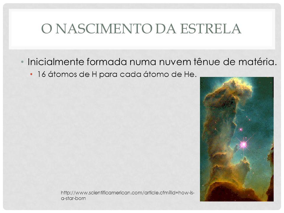 O NASCIMENTO DA ESTRELA Inicialmente formada numa nuvem tênue de matéria. 16 átomos de H para cada átomo de He. http://www.scientificamerican.com/arti