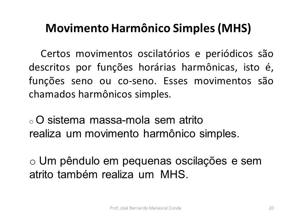 Movimento Harmônico Simples (MHS) Certos movimentos oscilatórios e periódicos são descritos por funções horárias harmônicas, isto é, funções seno ou co-seno.
