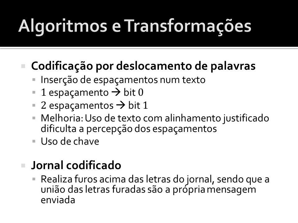 Codificação por deslocamento de palavras Inserção de espaçamentos num texto 1 espaçamento bit 0 2 espaçamentos bit 1 Melhoria: Uso de texto com alinha