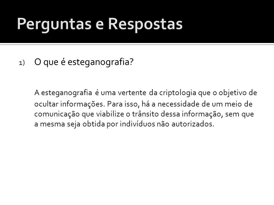 1) O que é esteganografia? A esteganografia é uma vertente da criptologia que o objetivo de ocultar informações. Para isso, há a necessidade de um mei