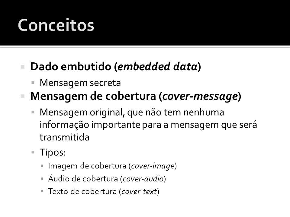 Dado embutido (embedded data) Mensagem secreta Mensagem de cobertura (cover-message) Mensagem original, que não tem nenhuma informação importante para
