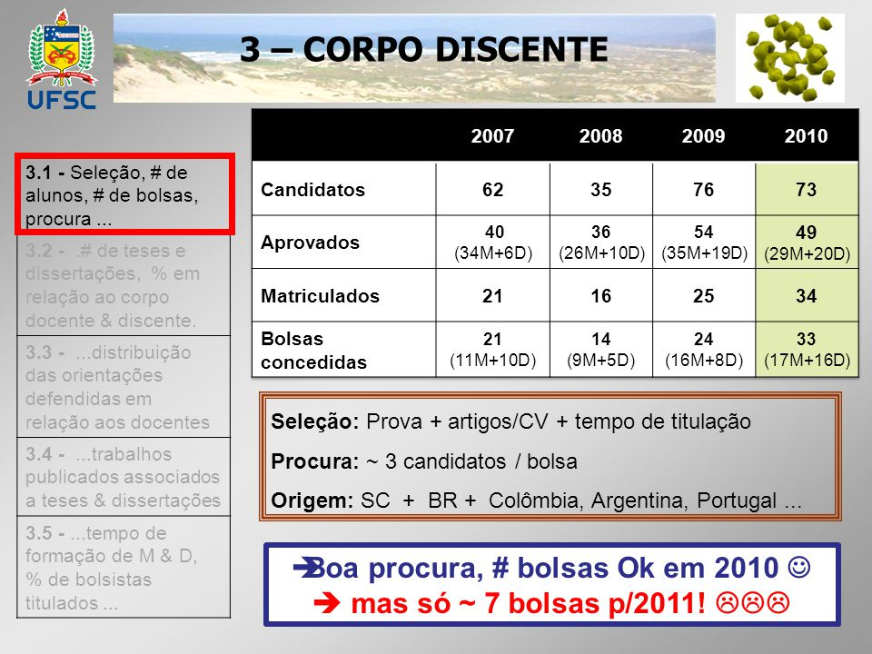 3 – CORPO DISCENTE 3.1 - Seleção, # de alunos, # de bolsas, procura... 3.2 -.# de teses e dissertações, % em relação ao corpo docente & discente. 3.3