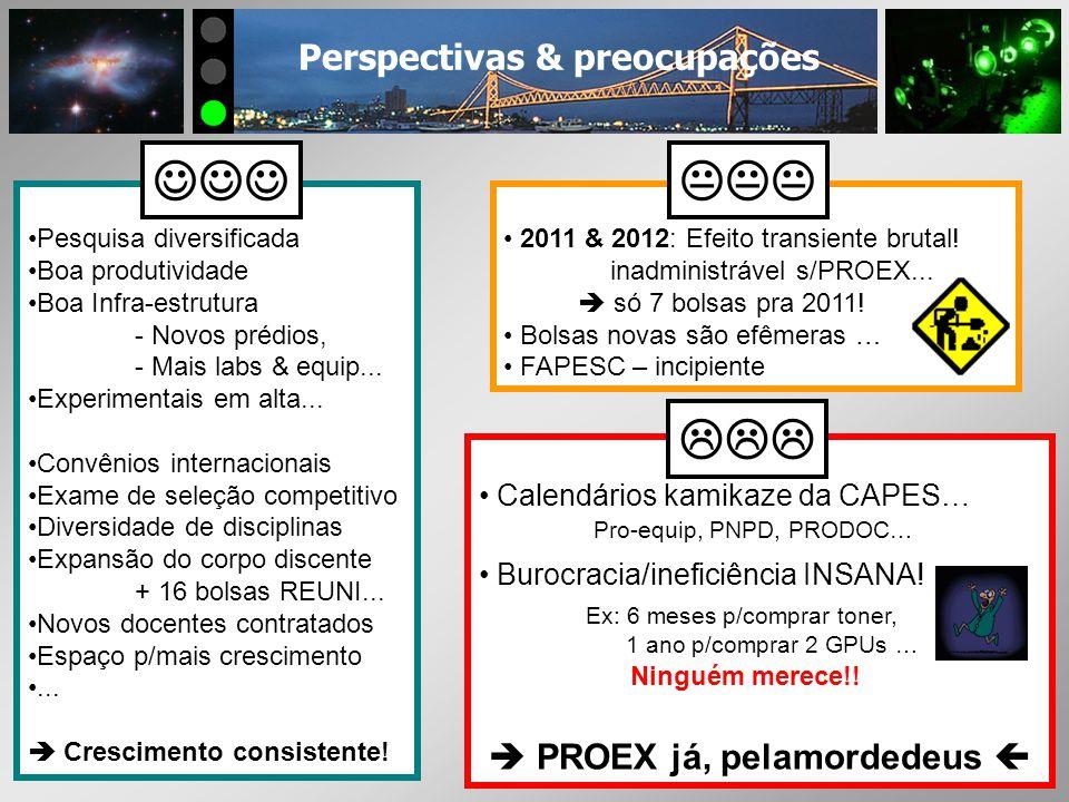 Perspectivas & preocupações Pesquisa diversificada Boa produtividade Boa Infra-estrutura - Novos prédios, - Mais labs & equip... Experimentais em alta