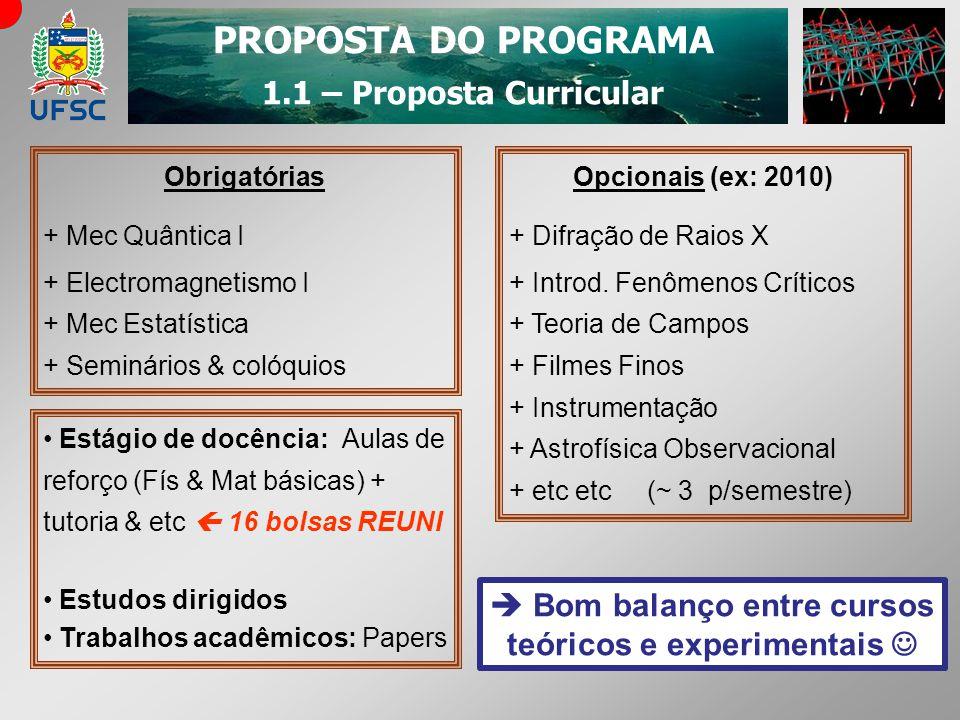 PROPOSTA DO PROGRAMA 1.1 – Proposta Curricular Obrigatórias + Mec Quântica I + Electromagnetismo I + Mec Estatística + Seminários & colóquios Opcionai