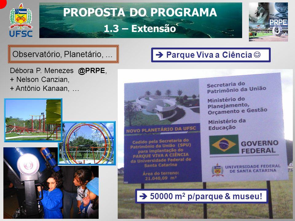 PROPOSTA DO PROGRAMA 1.3 – Extensão Observatório, Planetário,... Débora P. Menezes @PRPE, + Nelson Canzian, + Antônio Kanaan, … Parque Viva a Ciência