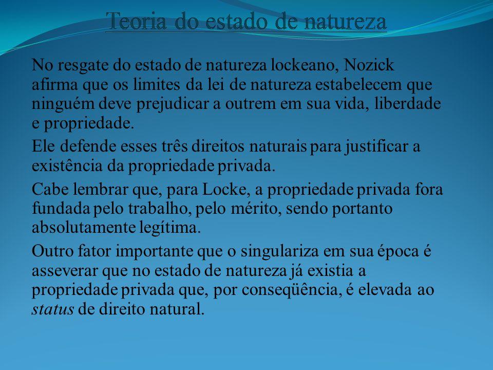 No resgate do estado de natureza lockeano, Nozick afirma que os limites da lei de natureza estabelecem que ninguém deve prejudicar a outrem em sua vid